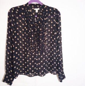 J.Crew 100% Silk Black And Beige Long Sleeve Top